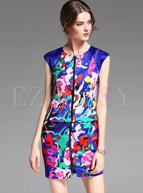 Floral Print Sleeveless Zipper Pocket Bodycon Dress