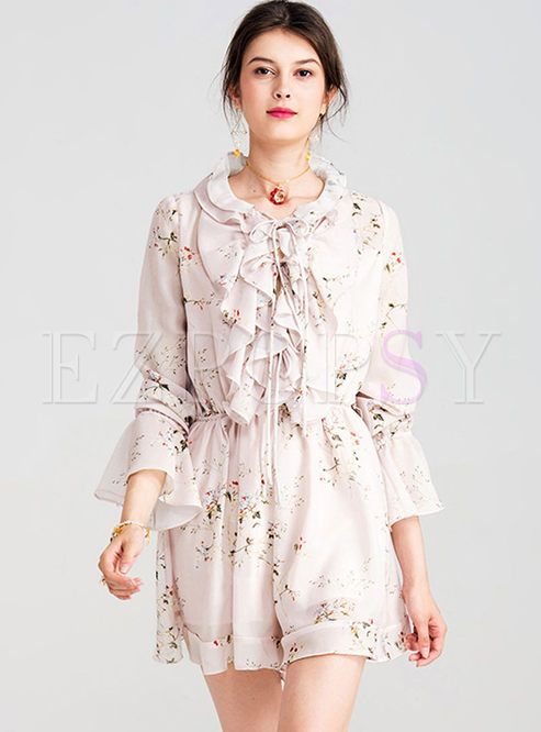 4f91c0354240 Pants.   Casual Floral Print Long Sleeve High Waist Romper
