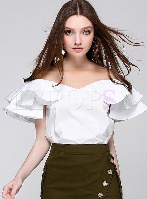 White V-neck Falbala Pullover Blouse