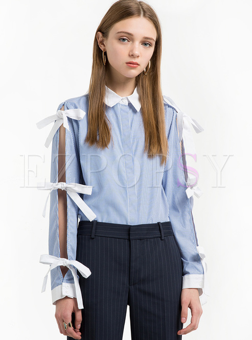 Color-blocked Lapel Bowknot Tied Hollow Slim Blouse