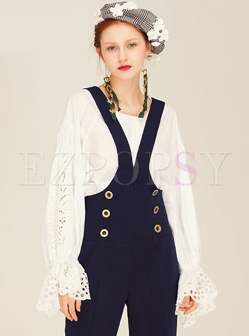 Elegant White Puff Sleeve Hollow Blouse