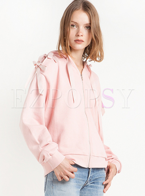 Street Pink Tied Hooded Sweatshirt