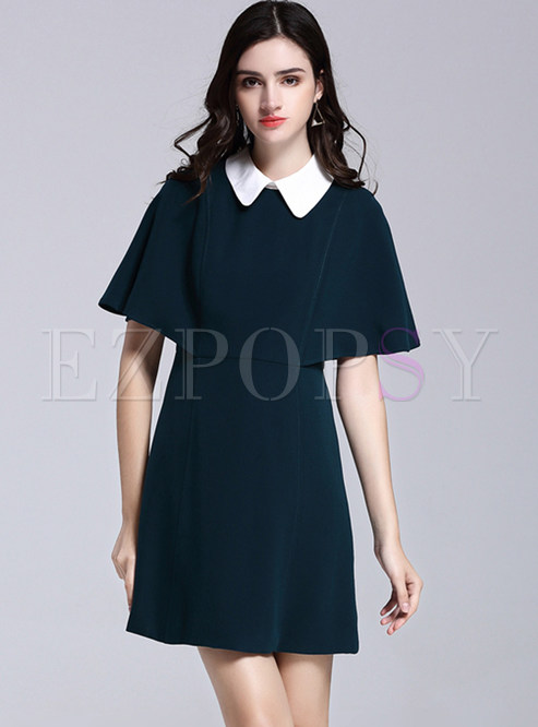 Brief Pure Color Splicing Turn-down Collar Loose Shift Dress