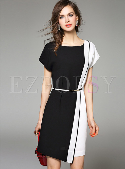 Black And White Blocking Skater Dress With Belt