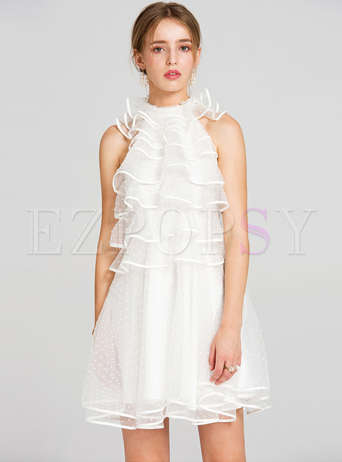 Sweet Mesh Sleeveless Layered Dress