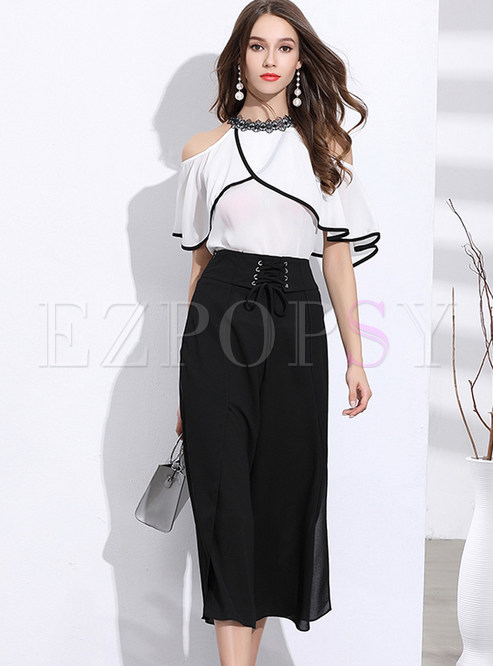 e7191fb1eb1ab Two-piece Outfits.   Work Lace O-neck Off Shoulder Ruffle Sleeve Blouse ...