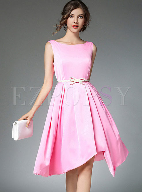 Brief Sleeveless Gathered Waist Asymmetry Hem Skater Dress