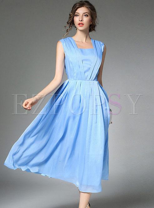 Silk Pure Color Wrinkle Sleeveless Skater Dress