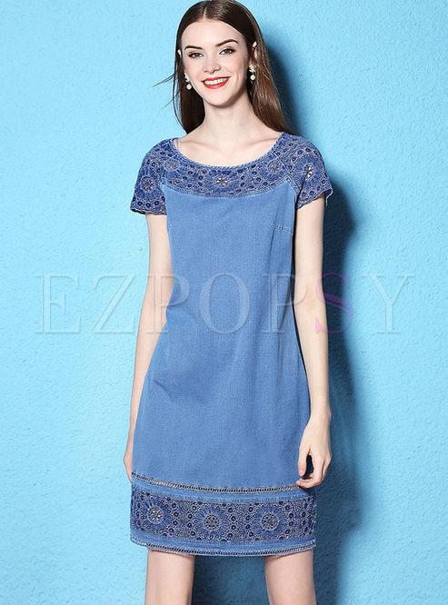 9ef6b88a48 Skater Dresses.   Sweet Lace Stitching ...