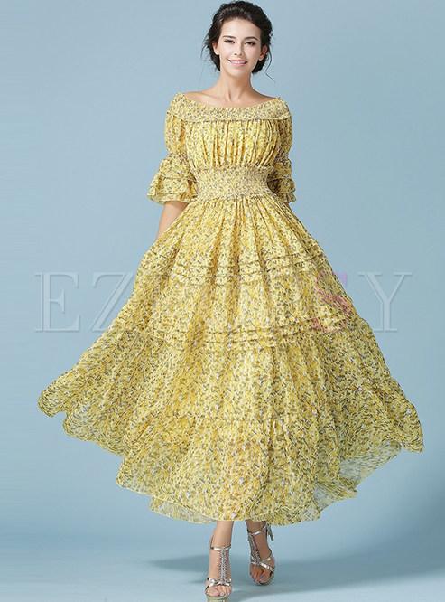Casual Beach Backless Half Sleeve Print Sheath Maxi Dress