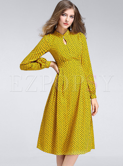 Casual Polka Dot O-neck Long Sleeve Slim Skater Dress