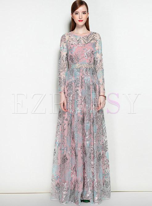 6fb309688d65 Dresses | Maxi Dresses | Party Embroidered Print O-neck Long Sleeve Slim Maxi  Dress