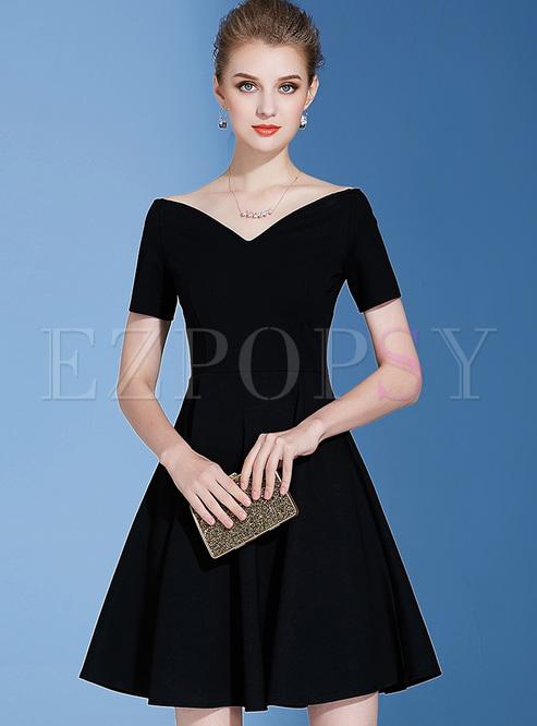 Dresses Skater Dresses Black Elegant V Neck Skater Dress