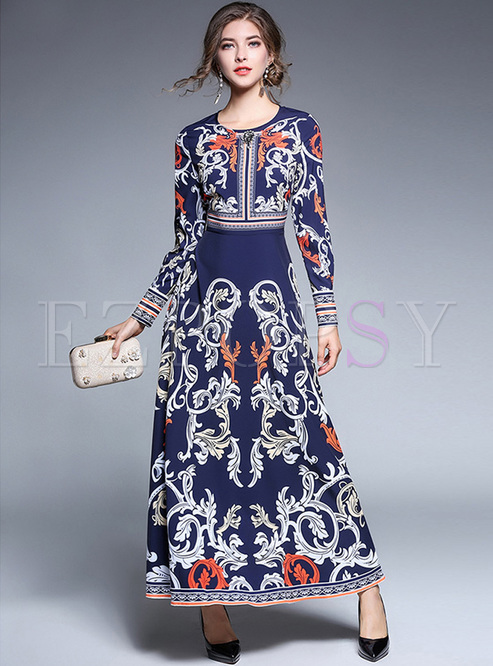 Crew Neck Print Rivet High Waist Maxi Dress