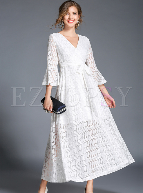 White V-neck Flare Sleeve Lace Maxi Dress - White V-neck Flare Sleeve Lace Maxi Dress Ezpopsy.com