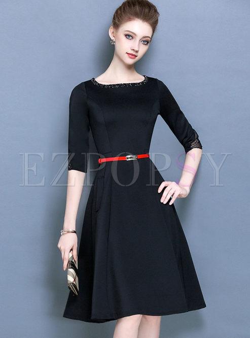 1cc33091cef1 Skater Dresses.   Vintage Black Belt Half Sleeve ...