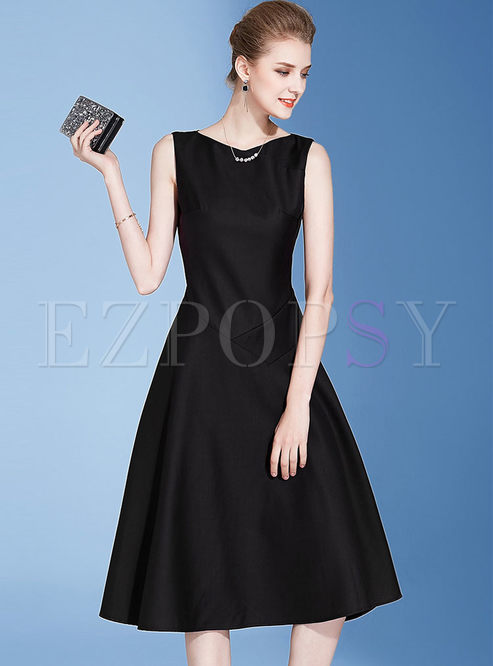 b407e0edab2f Skater Dresses.   Party Black Sleeveless Big Hem Skater Dress
