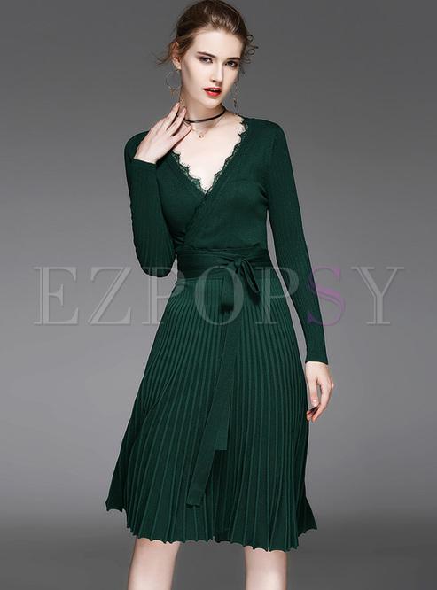 d5b9812cc39 Dresses | Knitted Dresses | Elegant Falbala V-neck Knitted Dress
