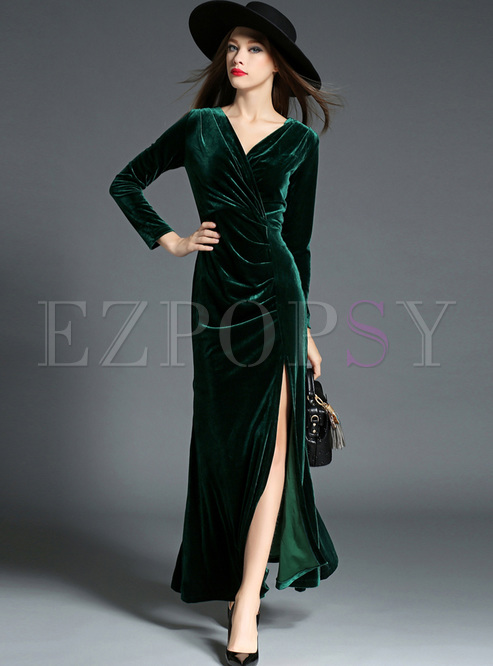 Green Sexy V-neck Velvet Split Maxi Dress