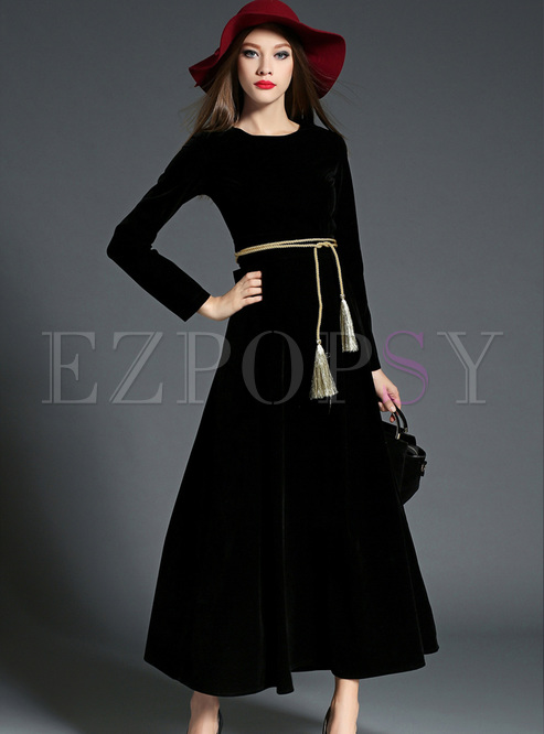 Brief Black Belted Long Sleeve Maxi Dress