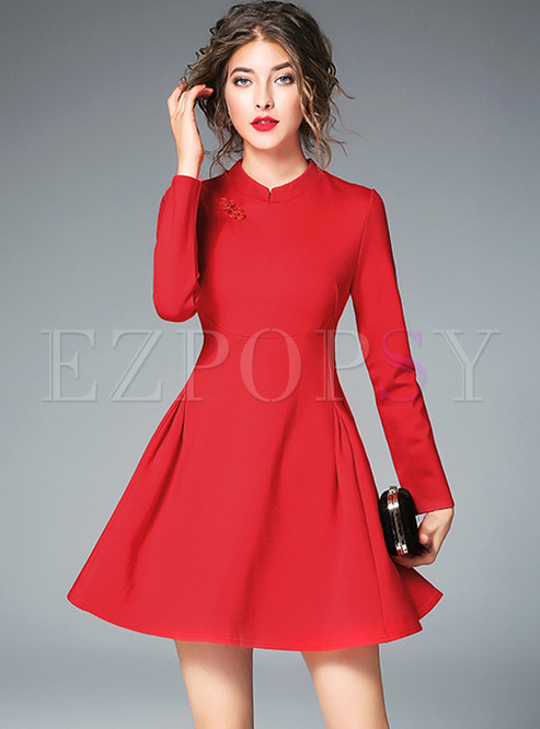 Party Long Sleeve Red Skater Dress | Ezpopsy.com