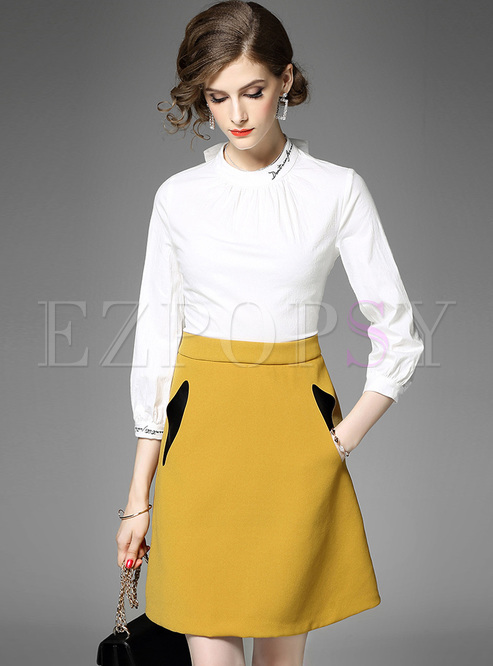 Elegant Letter Embroidery Color-blocked A-line Dress