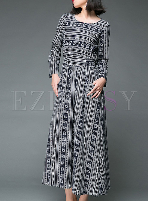 000b70059f Maxi Dresses.   Vintage Ethnic Long Sleeve Striped Maxi Dress