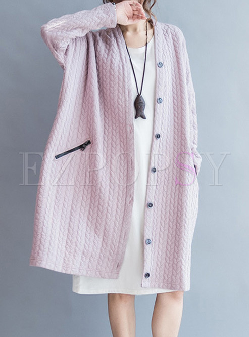 Casual Pink Cotton Single-breasted Coat