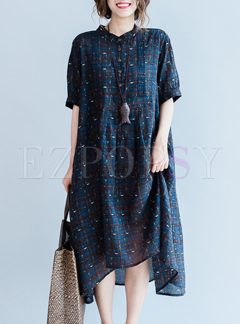 Casual Half Sleeve Floral Print Shift Dress