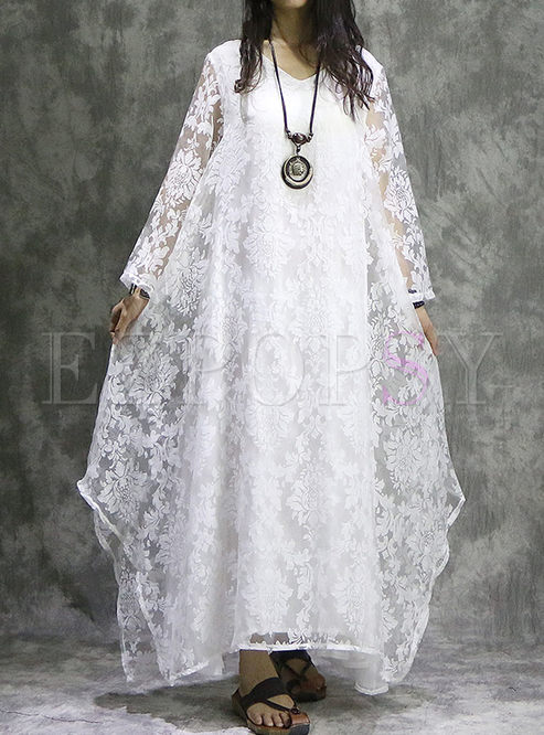 Silk Embroidered Long Sleeve Asymmetry Hem Maxi Dress