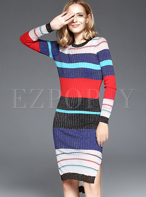 a3f1239fd Two-piece Outfits.   Sweet Slim Multi-color Striped ...