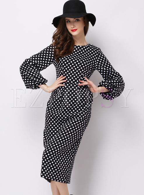 Elegant Lantern Sleeve Dot Print Bodycon Dress