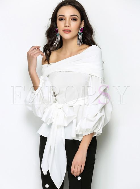 White Elegant Slash Neck Lantern Sleeve Blouse