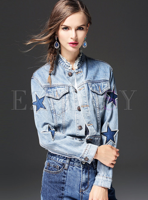 Stylish Star Design Stand Collar Denim Coat