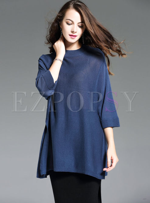 Loose Batwing Sleeve Slit Knitted Sweater