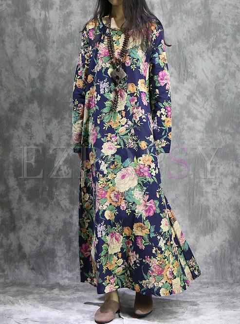 Street Floral Print Oversized Maxi Dress
