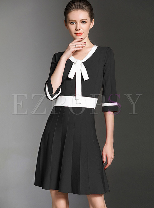 Dresses Knitted Dresses Black Work Bow Front Contrast Color