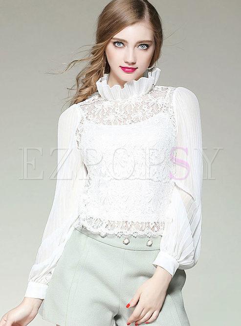 Stylish Lantern Sleeve Wrinkle Lace Splicing Blouse