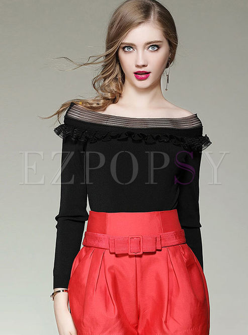 Sweet Off Shoulder Splicing Long Sleeve Knitted Sweater