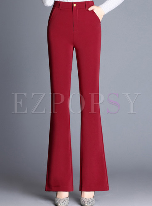 Red Brief High Waist Flare Pants