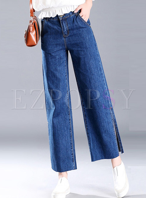 7893327117ac Pants stylish split blue denim wide leg pants jpg 493x666 Denim wide leg  pants