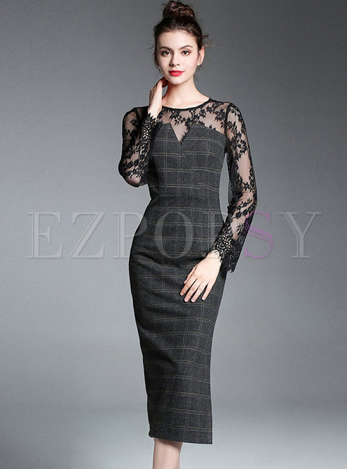Lace Hollow Out See Through Plaid Bodycon Dress