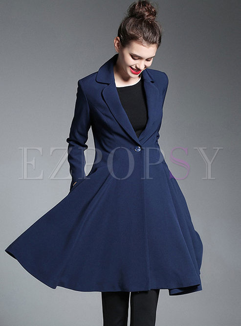 Navy Blue Slim A Line Big Hem Trench Coat