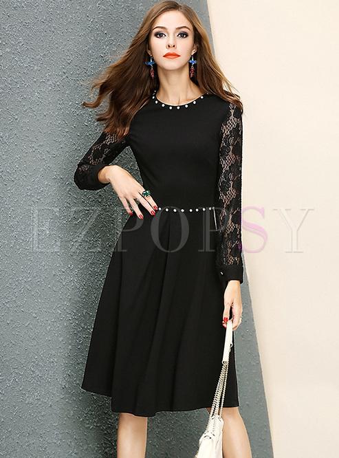 7e0def2e6fbd0 Skater Dresses.   Black Elegant Lace ...