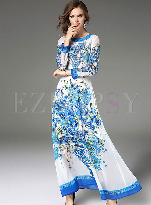 5872c010cb55 Maxi Dresses.   Blue Floral Print Long Sleeve ...