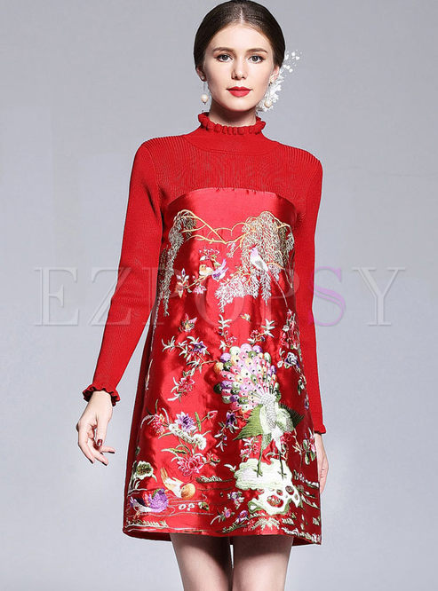 Vintage Embroidery Stand Collar Knitted Splicing Shift Dress