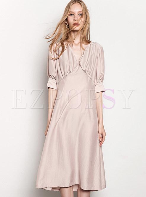 Skater Dresses.   Pink Sexy Half Sleeve V-neck ... d3c92ec04