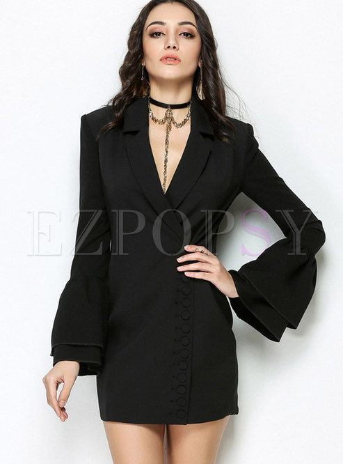 Black Sexy Bell Sleeve Gathered Waist Skater Dress