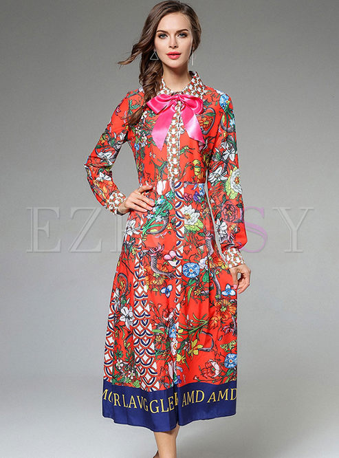 Floral Print Bowknot Lantern Sleeve Maxi Dress