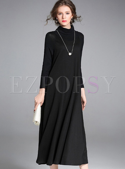 Dresses Maxi Dresses Black Elegant Turtleneck Maxi Dress